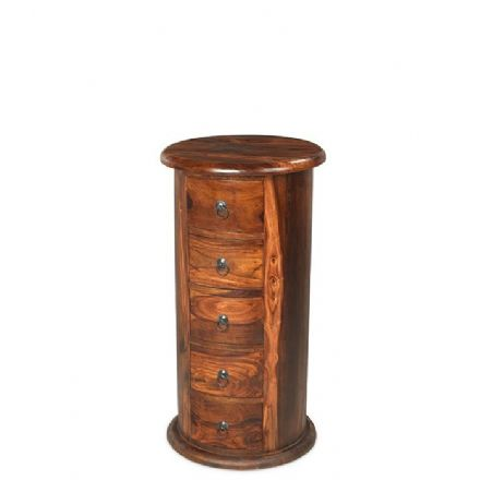 Jali Sheesham Wood 5 Drawer Large Drum